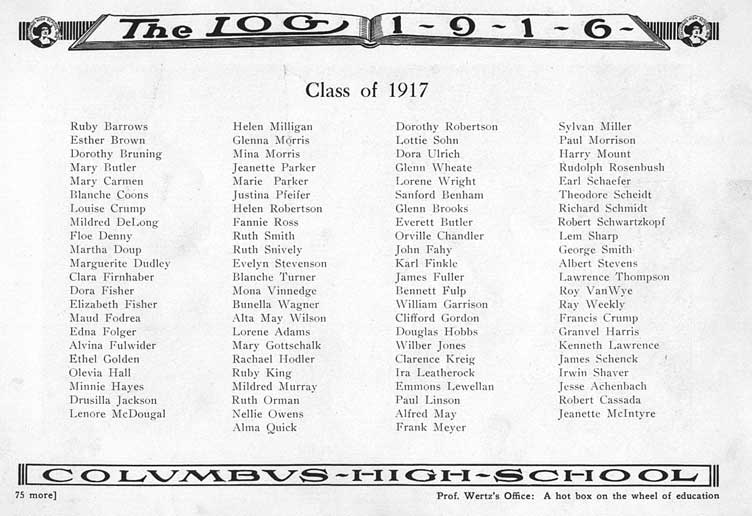 columbus high school chs 1916 yearbook log class of 1917